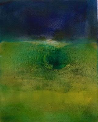 """""""Hinten am Horizont"""", 100x80 cm, Pigment auf Baumwolle - verkauft"""