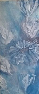 """""""Blaue Blüten, 140 cm x 60 cm, Pigemnt auf Leinwand"""