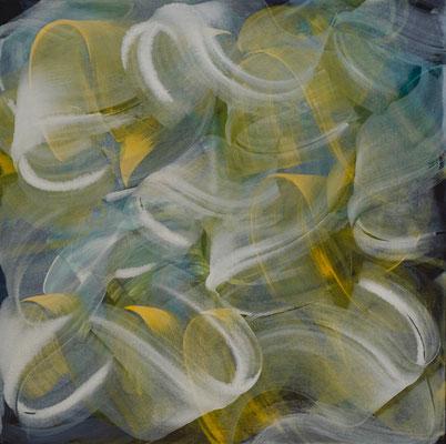"""""""Schneetreiben"""", 80x80 cm, Pigment auf Leinwand"""
