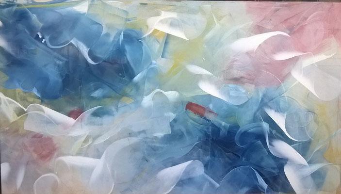 """Dynamik"", 180 cm x 100 cm, Pigment auf Baumwolle"