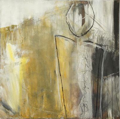 """Yves"", 100cm x 100 cm, Pigment, Acryl und Sand auf Leinwand"