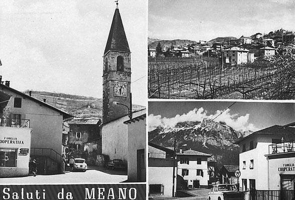 """8. Cartolina di Meano """"Saluti da Meano"""".  Anni '60 - '70. """"Metri 343 sul livello del mare. Edizione Francesco Ambrosi Trento."""""""