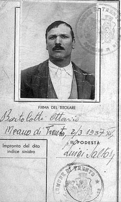 Ottavio Bortolotti - Meano di Trento- carta d'identità, 2 marzo 1937.