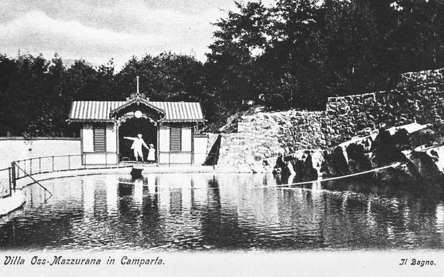 Villa Oss Mazzurana, il Bagno - la Piscina, cartolina. Camparta, Gazzadina