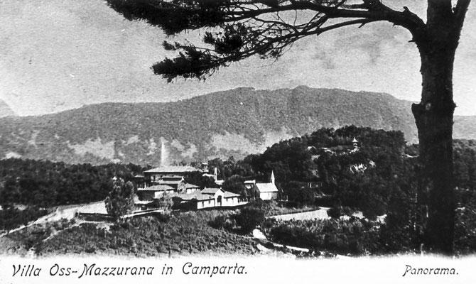 Cartolina panorama di villa Oss Mazzurana.  Residenza estiva dei nobili Oss Mazzurana a Camparta, Gazzadina