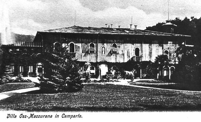 Villa Oss Mazzurana, corpo principale, cartolina. Camparta, Gazzadina.  A destra vi erano le cucine attrezzate di pompe antincendio. Al centro vi si trovava il   salone con il tavolo da biliardo. Da  Archivio Scuola Elementare di Vigo Meano