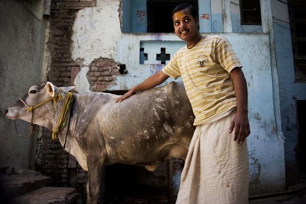 Uomo e la sua mucca _ Mathura _ India 2016