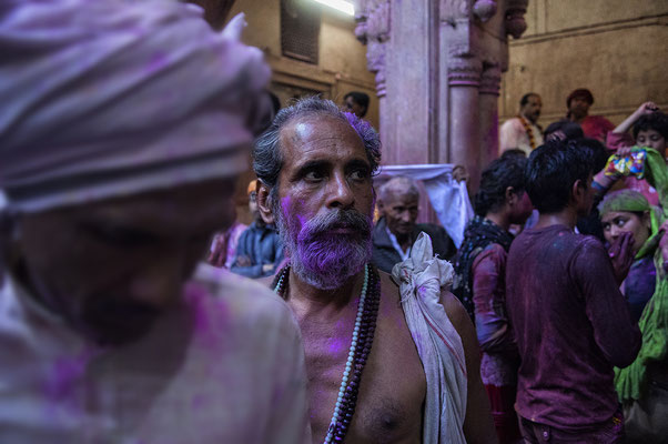 Holi in Shri Bankey Bihari Mandir _ Mathura _ India 2016