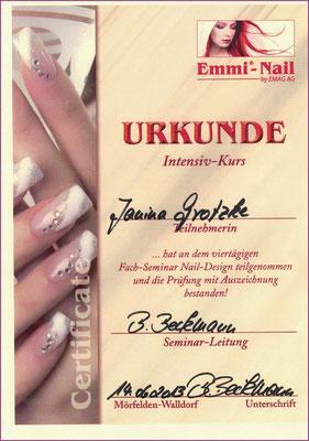 Zertifikat Emmi-Nail / Fach Seminar Nail-Design