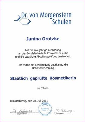 Zertifikat Dr. von Morgenstern Schulen / staatlich geprüfte Kosmetikerin