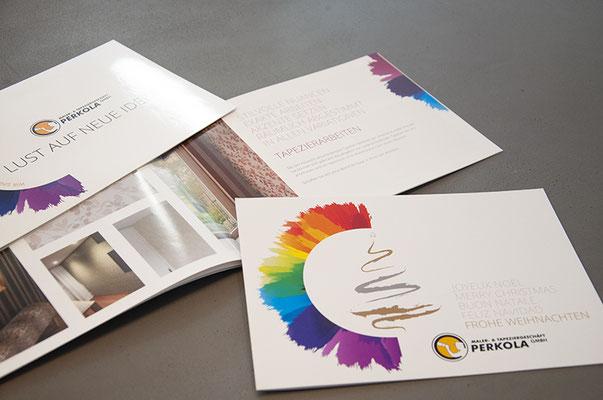 Perkola GmbH – Kreation der Imagebroschüre, Visitenkarten, Weihnachtskarten etc.