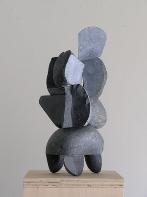 Katsuhisa Sakai, Memory of the City, 2006, Basalt and stainless steel, 25 x 13 x 12 inches, Courtesy: the artist.