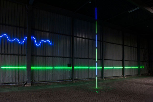 "Jan van Munster, ""Brainwave (Ratio)"", 2016, Blue and green glass, argon, transformers, varying dimensions. Noletloodsen Schiedam, exhibition: Snapshot of a Larger Order, Foto: Guus Rijven"