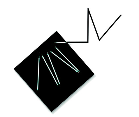 "François Morellet, ""Négatif n°8"", 2008, 1/3, Acryl auf Leinwand, Neon, Metall, 190 x 203 cm. Sammlung Maximilian und Agathe Weishaupt"
