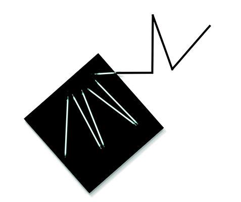 """François Morellet, """"Négatif n°8"""", 2008, 1/3, Acryl auf Leinwand, Neon, Metall, 190 x 203 cm. Sammlung Maximilian und Agathe Weishaupt, Foto: Courtesy Galerie Renate Bender, München"""