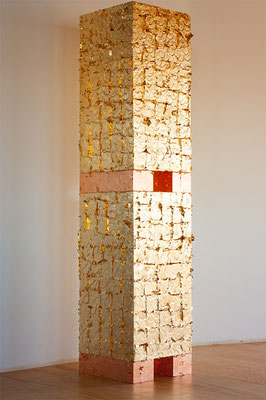 Zadik Zadikian, no title, 2014, Imitation gold leaf on Styrofoam, 108 x 24 x 24 inches, Courtesy: the artist.