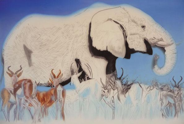 Africa 2 Airbrush auf Leinwand. Masse: 150 cm x 100 cm x 4 cm. In Arbeit, zu Verkaufen.