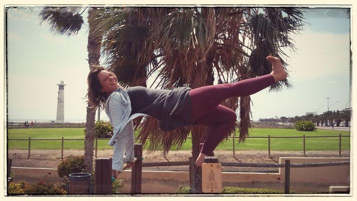 Yoga on playground
