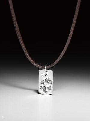 Kautschukcollier oder Ledercollier mit Pfotenabdruckmedaillon Silber/Bronze ab 210,0 EUR