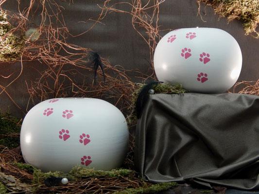 Weiß mit Trauerlichteinsatz und Pfötchenspuren (Gold, Silber, Weiß, Schwarz, Braun, Pink 1,0 l = 96,00 EUR, 2,0 l = 134,00 EUR