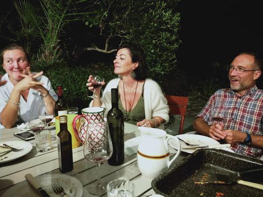 Diner lors de la retraite Pilates Italie