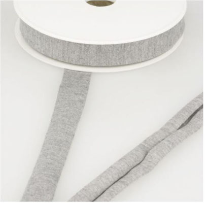 Jersey Schrägband, Farbe hellgrau meliert