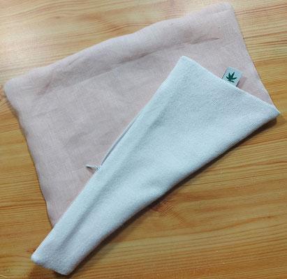 Babykissen aus Hanf und Bambus Stoff  mit Nahtverdecktem Reißverschluss - rosa