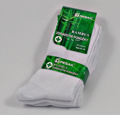 Weiße Bambus Socken für medizinische Berufe, 3er Pack, UNISEX, für geschwollene Füße