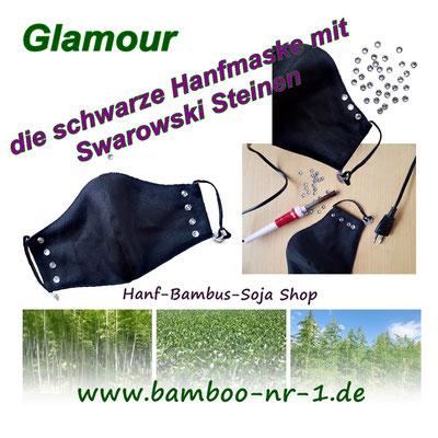 Glamour - die Gesichtsmaske aus Hanfstoff und echten Swarowski Steinen