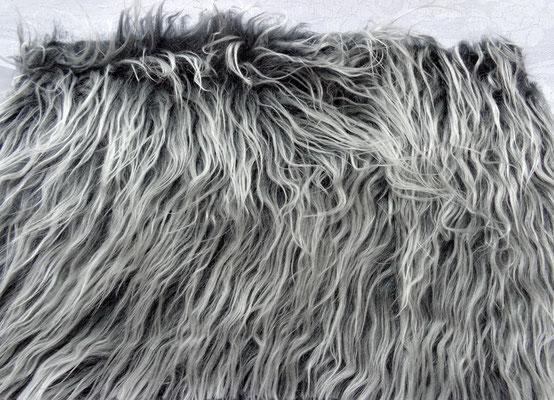 Langhaar Zottel 8 cm, hellgrau-anthrazit meliert