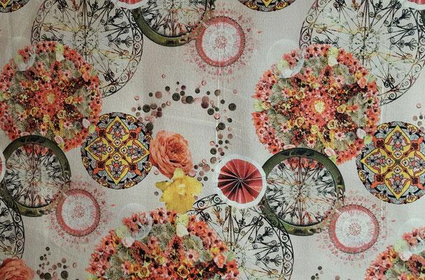 Dekostoff mit Rosen Mandalas in tollen Farben