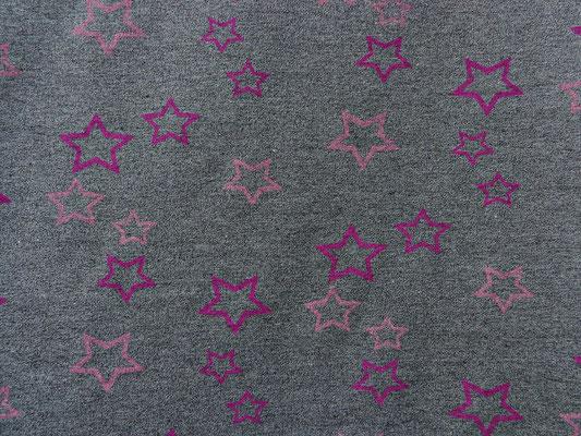 Stars in pink, Frensch Terry Qualität, Bambus Viskose, Überbreite