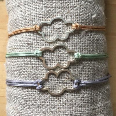 Bracelets femme ou enfant, nuage en argent 925 sur fil de jade beige, vert clair ou gris ajustable avec fermoir argt 925, 18€