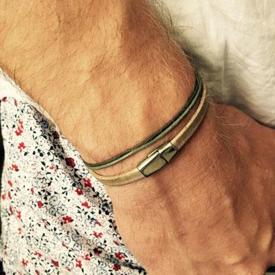 Bracelets masculins en cuir avec fermoir aimanté 25€ sur commande