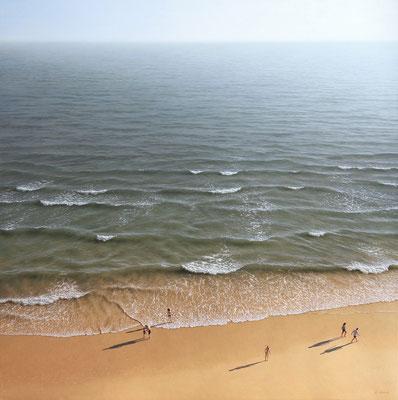 On the Beach, 100 x 100 cm, oil on canvas
