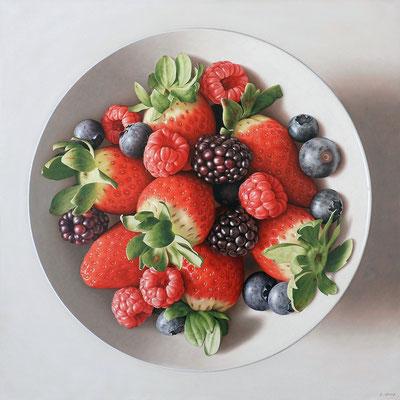 Red Fruits, 92x92 cm, óleo sobre lienzo, 2014