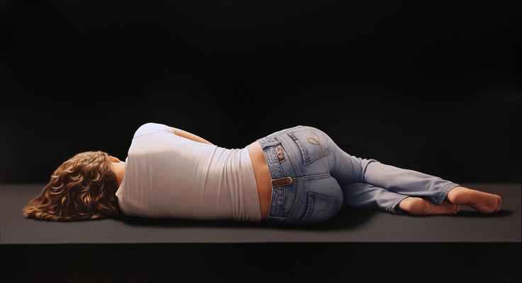 Blue Jeans V, 89 x 162 cm, óleo sobre lienzo, 2016
