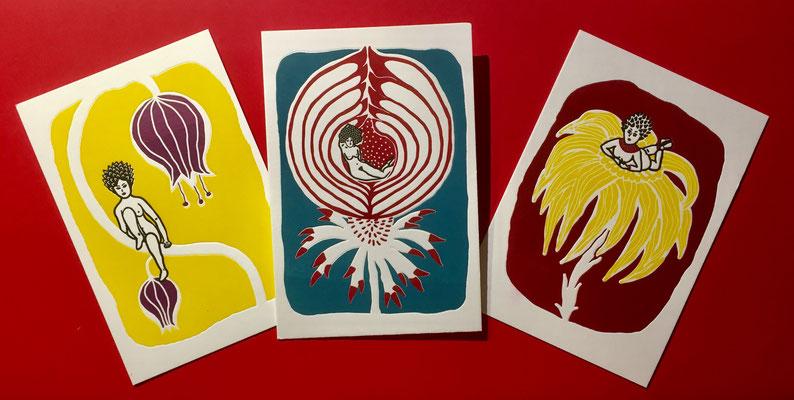 cartes postales 3 couleurs, imprimées en letter-press