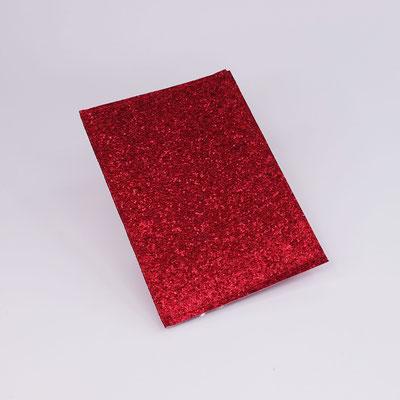 Etui carte-grise en simili lurex rouge - Fait main