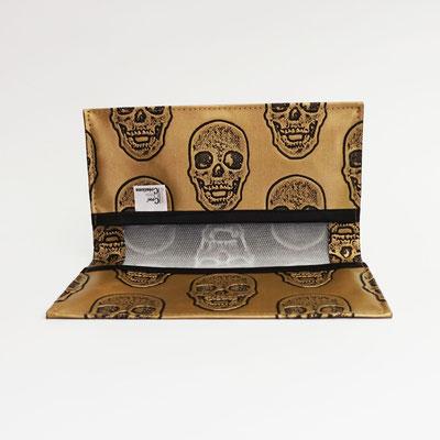Porte-chéquier, simili, têtes de mort bronze
