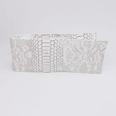 Porte-chéquier long format classique simili, dragon blanc