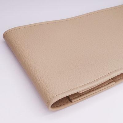 Porte-chéquier long format classique simili grainé beige artisanal