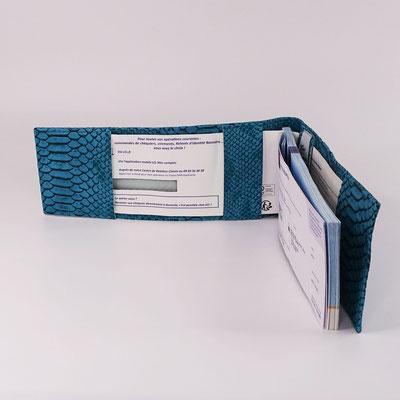 Porte-chéquier long format classique simili turquoise (fait main)