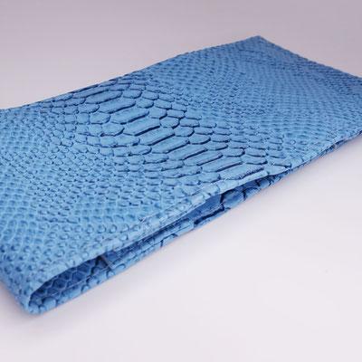 Porte-chéquier long format classique simili, dragon bleu ciel