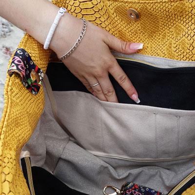 Grand sac cabas/bourse simili jaune et noir - Intérieur avec multiples poches