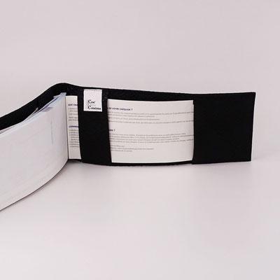 Porte-chéquier long format classique simili dragon noir (fabriqué en France)