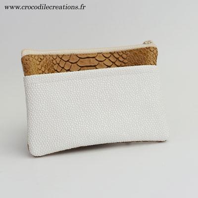 Porte-monnaie 3 poches végan dragon caramel et perlé ivoire