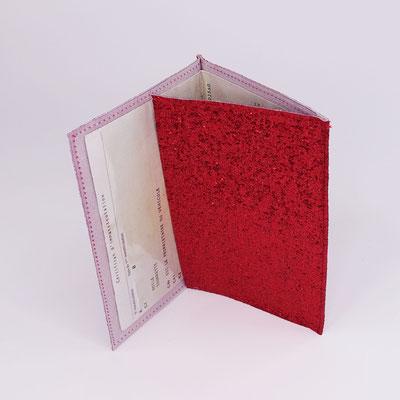 Etui carte-grise en simili lurex rouge - Artisanal