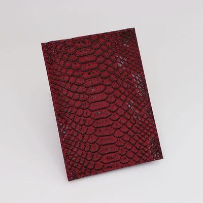 Etui carte-grise en simili dragon rouge - Fait main