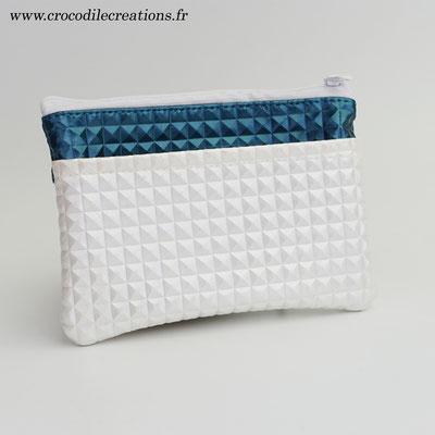 Porte-monnaie 3 poches végan gaufré bleu canard et ivoire